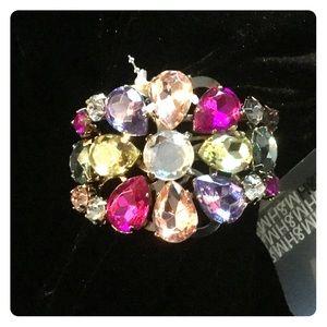 Floral Rhinestone Crystal Multicolor Bracelet NEW